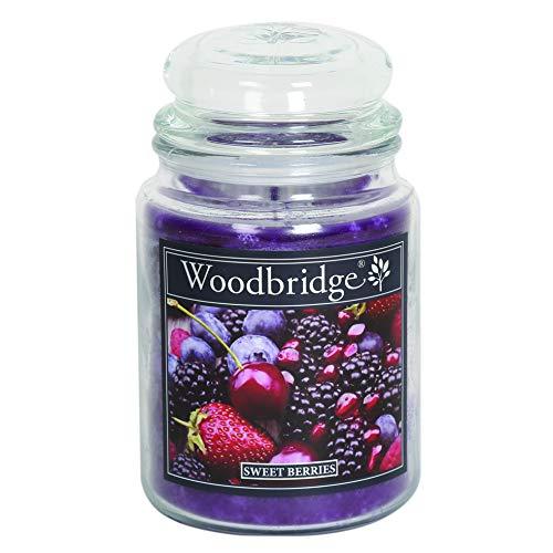 Woodbridge 2-Docht Duftkerze im Glas mit Deckel - Sweet Berries (565g) - Der fruchtige Duft für Dein Zuhause - Ganzjährige Kerze - bis zu 130 Stunden Brenndauer