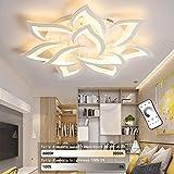 LED Dimmable Ceiling Lamp Modern Flower Shape Ceiling Lights Fixture Children's Living Room Bedroom Flush Hanging Lamp Metal Acrylic Petal Ceiling Chandelier Lighting,10 Heads/ ø33.5″/88w