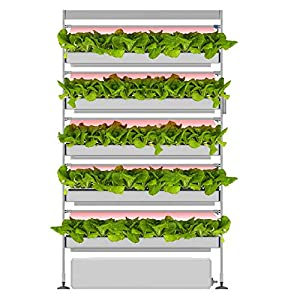 OPCOM Farm GrowWall3 - All Year Round Hydroponic Growing System - High Capacity 180 Pot Vertical Indoor Farming - Adjustable LED Lights with Starter Kit Included