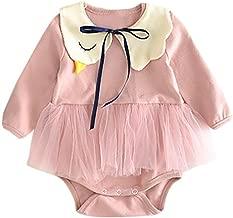 Lanhui Newborn Baby Girls Swan Solid Clothes Romper Jumpsuit+Bib Outfits Set