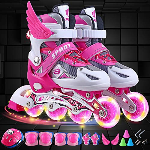Inline Roller Boys Girls Adjustable Inline Skates, with Light up Wheels for Children Fun Roller Blades for Kids Beginner Roller Skates for Girls, Men and Ladies,Pink,S