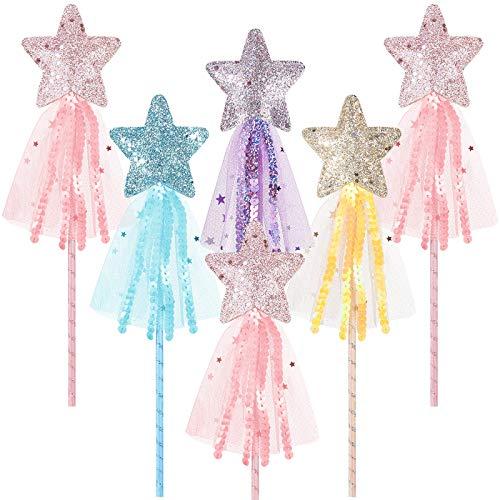 Skylety 6 Piezas Varitas de Estrella Brillantes Varita de Princesa Varita de Hadas Palo de Hadas de Actuación para Niñas Accesorio de Vestuario de Navidad Disfraz de Cumpleaños