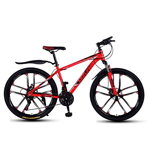 DGAGD Mountain bike 24 inch double disc brake variable speed light bicycle ten cutter wheels-red_21 speed
