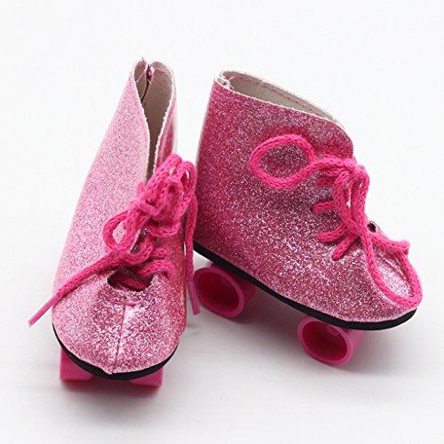 Homyl 1 Paar Puppen Rollschuhe Schuhe für 18 Zoll Puppe - Rosa