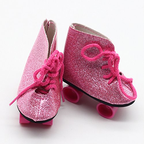 Gazechimp Mode Rollschuhe Schuhe Zubehör für 18 Zoll American Girl Puppen - Rosa