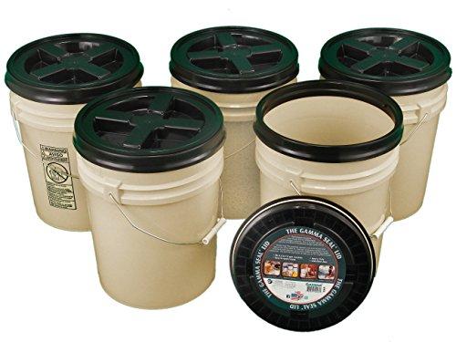 Bucket Kit, Five 90 mil Tan 5 Gallon Buckets with Black Gamma Seal Lids
