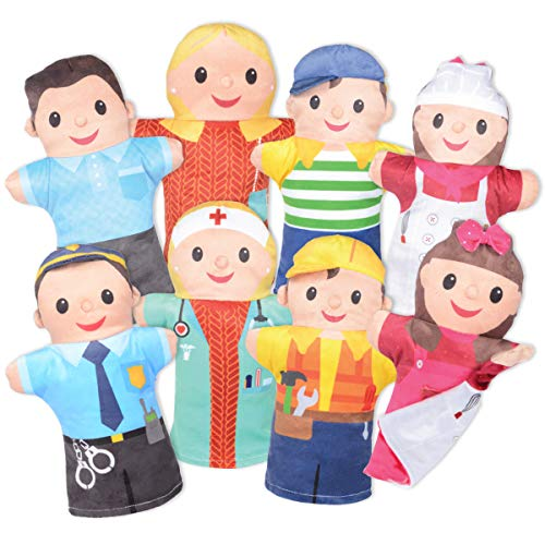 Milliard 4 Double-Sided Puppet Family of Community Helpers 4 Puppets, 8 Sides