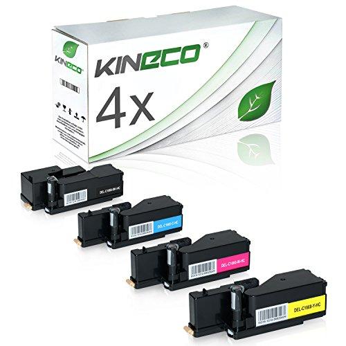 4 Toner kompatibel mit Dell C1660 W - 59311130 59311129 59311128 593211131 - Schwarz 1.250 Seiten, Color je 1.000 Seiten