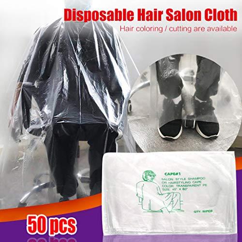 50 pièces jetables pour cheveux cape,Voberry- Shield imperméable Coupe cape Shield pour salon coiffure Bavoir,Barbershop fournit des outils pour adultes (130 * 160cm)