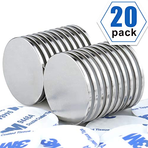 LOVIMAG Strong Neodymium Disc Magnets with DoubleSided Adhesive Powerful Rare Earth Magnets Perfect for Fridge DIY Building Scientific Craft and Office Magnets 126 inch x 008 inch  Pack of