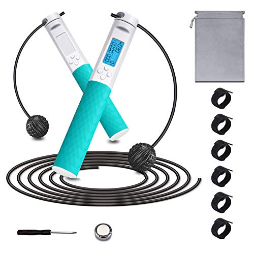 Aolfay Jump Rope, Jump Ropes for Fitness, Ropeless Jump with Carolies & Weight Digital Smart Counting, Adjustable Skipping Rope Non-slip Silicone Handle with Storage Bag Six Cable Ties for Indoor and Outdoor Exercise(Blue/White)