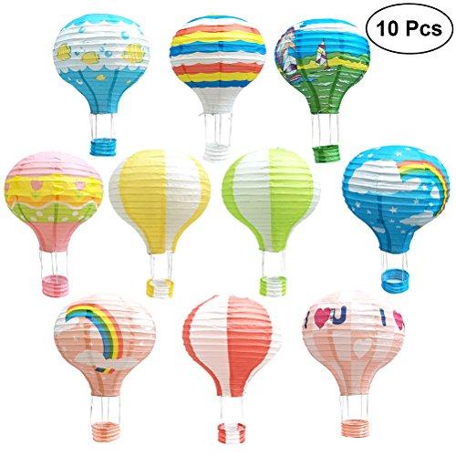 TOYMYTOY Papierlaterne,12 Zoll hängenden Heißluftballon für Partydekorationen, 10Pcs