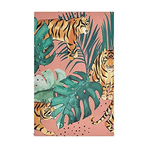 HJHJJ Küchengeschirrtuch Set 4 Exotische Muster Tropische Blätter Tiger Küchentuch Large28 '' x 18 '' Küchentücher, Geschirrtücher, dekorative Waffeltücher, Handtücher, Geschirrtücher