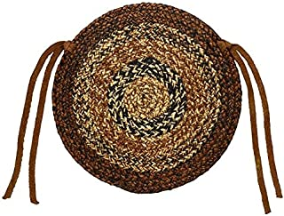 IHF Home Decor Round Chair Cover Pads Braided Rug 15 Inch Cappuccino Design Jute Natural Fiber - Set of 4