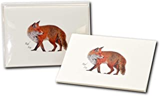 Earth Sky + Water - Red Fox Notecard Set - 8 Blank Cards with Envelopes