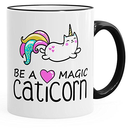 MoonWorks Kaffee-Tasse Be a Magic Caticorn Einhorn Unicorn Einhorn-Tasse mit Farbkante schwarz Unisize
