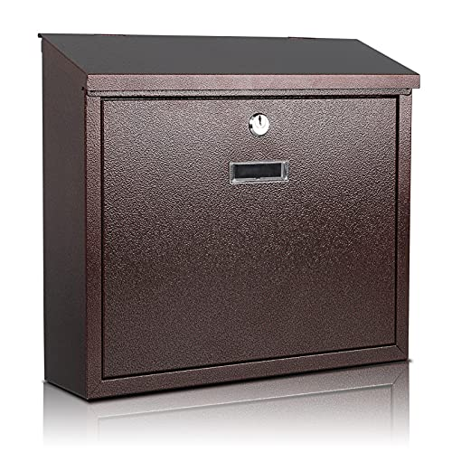 xydled Mail Boxes with Key Lock,Locking Mailbox Wall Mounted, Large Capacity, Galvanized Steel Cover Metal Postbox for House, 14 X 12.5 X 4.25 Inch,Bronze