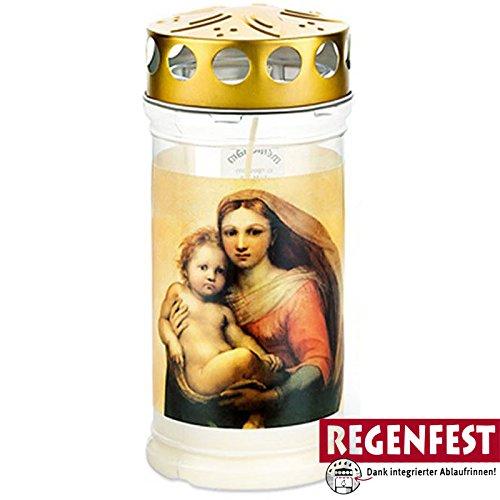 Grablicht Aeterna mit Madonna Motiv, 4 Tage Brenndauer, Regenfest (20)