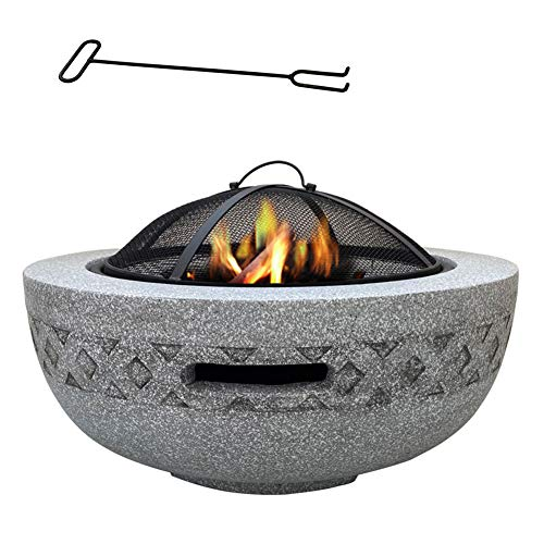 DTLEO Large Fire Pit Garden Camping Poker Brazier (3 in 1Fire Pit Round Table & Grill) Garden Patio Heater/BBQ/Ice Pit