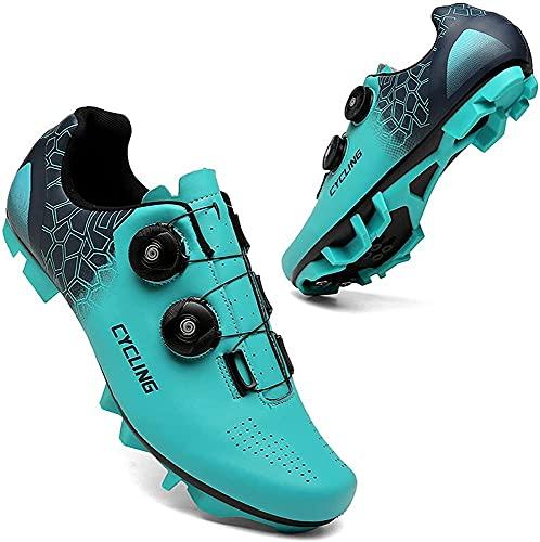 CHUIKUAJ Zapatos de Ciclismo para Hombres y Mujeres, MTB, Zapatos Giratorios con Hebilla, Tacos Transpirables, Compatibles con SPD, Zapatos de Ciclismo para Interiores,Blue-46EU