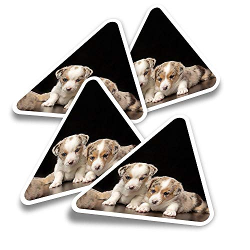 Vinyl Triangle Stickers (Set of 4) - Welsh Corgi Puppy Dog Cute Fun Decals for Laptops,Tablets,Luggage,Scrap Booking,Fridges #2700