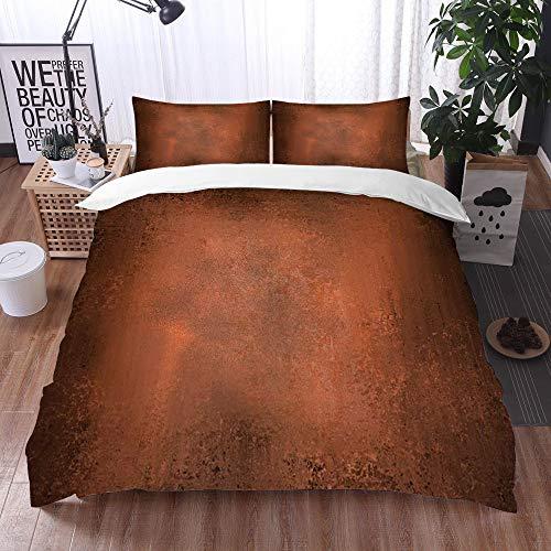 Mingdao Bedding Juego de Funda de Edredón -Fondo Abstracto Naranja o marrón con Grunge Vintage/Microfibra Funda de Nórdico (Cama 240 x 260 cm + Almohada 50X80 cm)