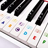 Piano Keyboard Stickers for Beginners 88/76/61/54/49/37 Keys - Removable, Transparent Piano Stickers - Perfect for Kids, Big Letters, Easy to Install - with Cleaning Cloth