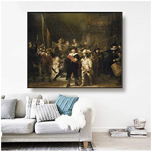 Rembrandt《De Nachtwacht》Canvaskunst Schilderij Poster Muurdecoratie Huisdecoratie voor Woonkamer Kantoor -90x70cm Geen lijst
