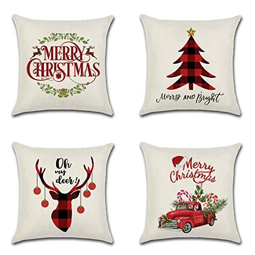 Artscope Funda de Cojín 45x45cm Navidad,Funda de Almohada para Cojín Cuadrado Algodón Lino para Sofá Cama Hogar Decorativo para Navidad Christmas,Set de 4 (Navidad Cuadrados Rojo-E)