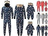 Matching Family Christmas Pajamas Set Hoodie Pajamas Reindeer Jumpsuit Romper Holiday Pjs One Piece Hooded Sleepwear