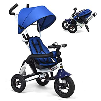 Costzon Baby Tricycle 6-in-1 Foldable Steer Stroller Learning Bike w/Detachable Guardrail Adjustable Canopy Safety Harness Folding Pedal Storage Bag Brake Shock Absorption Design Blue