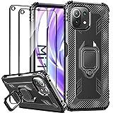 IMBZBK Funda para Xiaomi Mi 11 Lite 4G/5G Carcasa + [2 Pack] Protector Pantalla Cristal Templado, [Soporte Giratorio de 360 Grados con Anillo de Dedo][Grado Militar Anti-Golpe] TPU Silicona