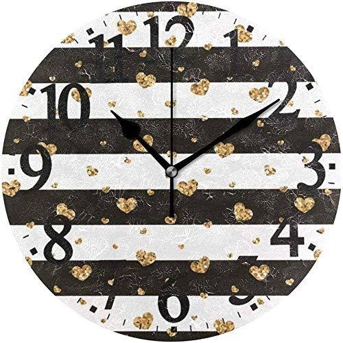 Orologio da parete Orologio da parete rotondo a righe con cuore in oro Orologio da decorazione per la casa per l'ufficio in casa