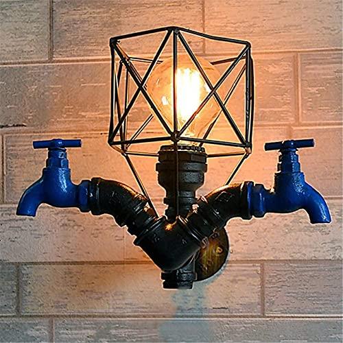 GWDFSU Tubería de Agua Luz de Pared Grifo Lámpara de Pared Industrial Vintage Lámpara rústica Doble Cabeza Metal Hierro Café Creativo Bar E27 Retro Iluminación Interior Estadounidense