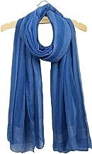 Uainhrt Women's Fashion Soft Solid Color with Vertical Stripe Silk Long Scarf,Lady Luxury Shawl Wrap Scarves