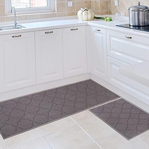 """Homcomoda Kitchen Rug Mats Set 2 Piece Non Slip Kitchen Mat Absorbent Kitchen Floor Mat Rubber Backing Kitchen Carpet Rug Machine Washable for Kitchen Entrance Indoor Outdoor 20""""x32""""+20""""x59"""""""