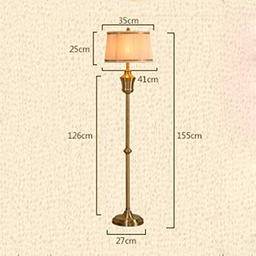 XIN Home staande lamp, staande lezing, creatieve retro-brons staande lamp in Amerikaanse stijl woonkamer-studie in Amerikaanse stijl luxe bedlampje verticale staande lamp oogbescherming Ve