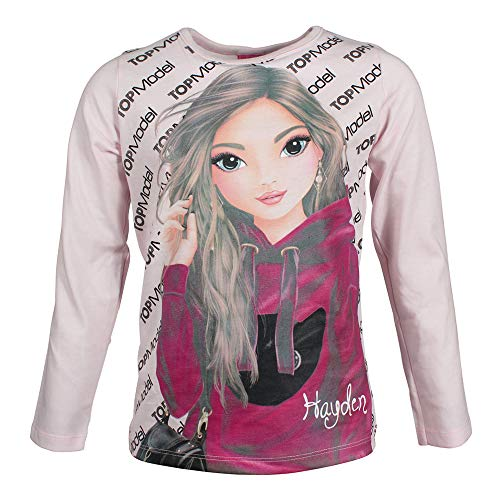 Top Model Mädchen T-Shirt, Langarmshirt, rosa, Größe 128, 8 Jahre