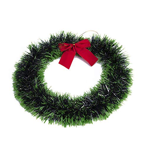 Guirnalda de Navidad de 35 cm con corona lateral verde para decoración de puerta (tamaño único; color: verde)