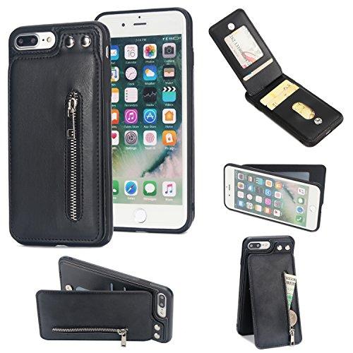 Shinyzone für iPhone 8 Plus/iPhone 7 Plus Leder Brieftasche Zurück Hülle mit Kredit Kartenhalter,Taste Schnalle Reißverschluss Tasche Ständer Handyhülle,Schwarz