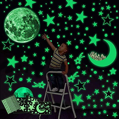 Luminoso Pegatinas de Pared Yolistar,472pcs Puntos Luna y Estrellas Adhesivos Decorativo de Pared Fluorescentes Decoración,DIY Decoración de la Habitación Para Chico Niña Bebé, Casa Interior Mural
