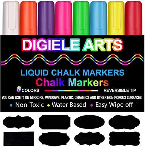 Rotuladores de Tiza Líquida, DIGIELE 8 Llamativos Colores c