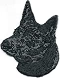 Embroidered Iron On Sew On Patch Black Australian Kelpie Portrait Dog Breed Great Quality Applique, 2' x 2 1/2'