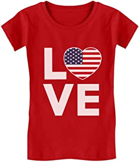 Cute 4th of July Tee Love USA Heart Flag Patriotic Infant Girls' Fitted T-Shirt