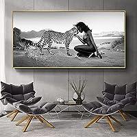 CHBOEN 帆布の絵 ブラックホワイト自然の風景ヒョウと裸の女性ポスター壁画のための壁の装飾(フレームなし) (Size (Inch) : 50x100cm(No Frame))