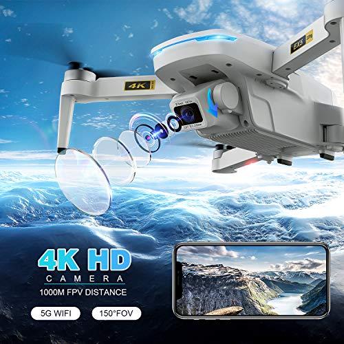 EACHINE EX5 GPS Drone con Telecamera Pieghevole 4K HD per Adulti 60 Minuti di Volo 1000 Metri di pPrtata FPV Controllo Gestuale 5G GHz WiFi FPV Brushless Motor GPS Follow Me ( Due batterie e Borsa)