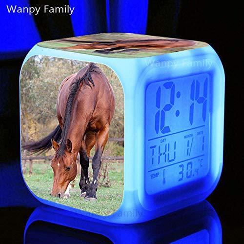 Zhuimin wekker voor paarden, digitaal, led-klok, 7 kleuren, cadeau voor kinderen