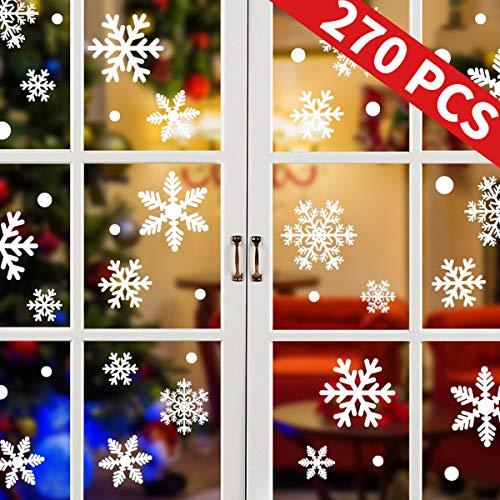 Tuopuda 270 Piezas Pegatinas Copos de Nieve Adorno Navidad Ventana Decoración Las Maravillas de Invierno Decoraciones Adornos Suministros para la Fiesta Reutilizable (15 Hojas)
