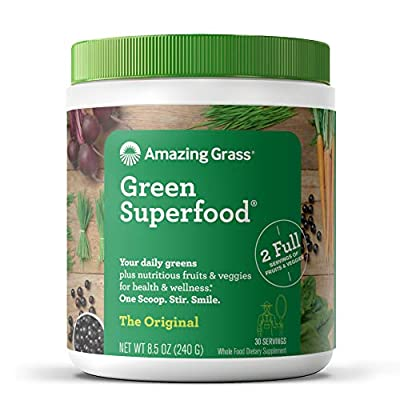Amazing Grass Green Superfood: Organic Wheat Grass, Alfalfa and Super Greens Powder, 2+ servings of Fruits & Veggies per scoop, Original Flavor, 30 Servings
