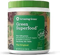 Amazing Grass Green Superfood: Super Greens Powder with Spirulina, Chlorella, Digestive Enzymes & Probiotics, Original, 30 Servings
